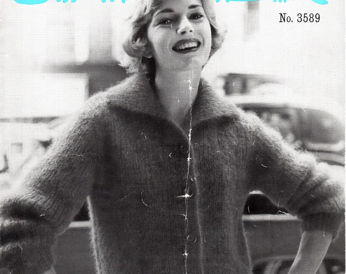 "Original Pattern Jaeger 3589 Ladies Womens 50s vintage easy knit round neck collared raglan mohair cardigan knitting pattern 34"" to 38"" bust"