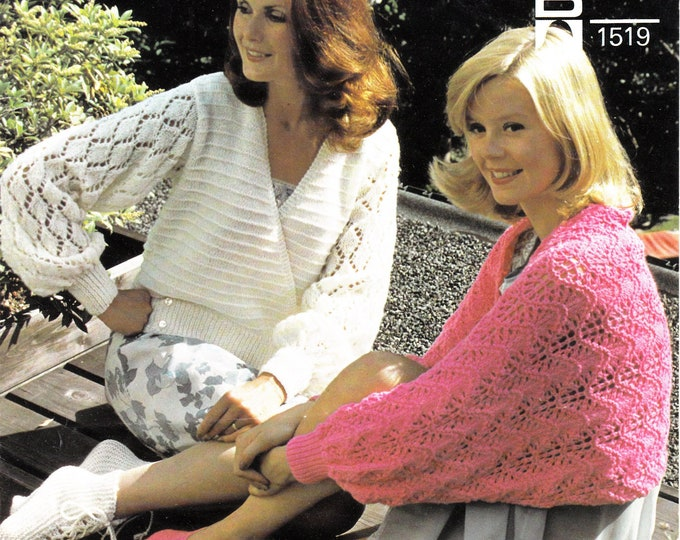 """Original Knitting Pattern Sunbeam 1519 Ladies Womens 70s vintage lacy DK bed jacket cape slippers and bed socks pattern 34"""" to 40"""" chest"""