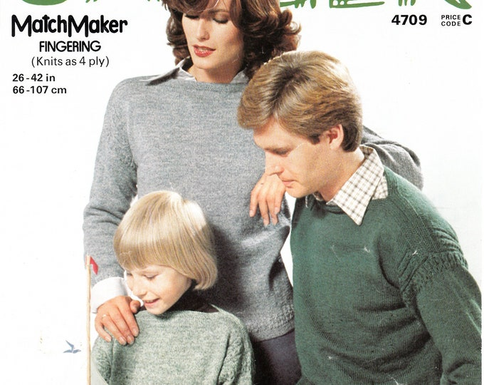 "Original Pattern Jaeger 4709 easy to knit family 4 ply slash neck drop shoulder raglan sweater jumper knitting pattern 26"" to 42"" chest"