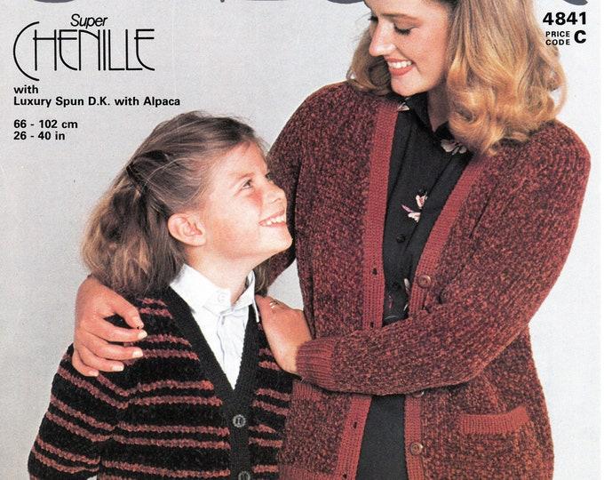 "Original Knitting Pattern Jaeger 4841 Womens Girls 80s vintage easy to knit V neck striped or plain chenille & DK raglan cardigan 26"" to 40"""