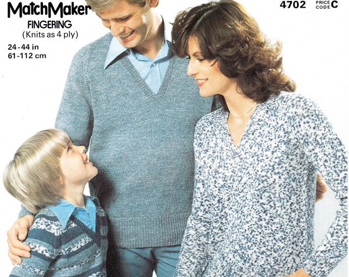 "Original Pattern Jaeger 4702 Ladies Womens Mens Boys Girls family easy to knit V neck raglan 4 ply sweater knitting pattern 24"" to 44"" chest"