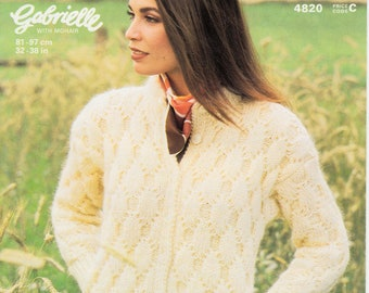 "Original Pattern Jaeger 4820 Ladies Womens 90s chunky knit round neck cabled drop shoulder raglan jacket knitting pattern 32"" to 38"" chest"