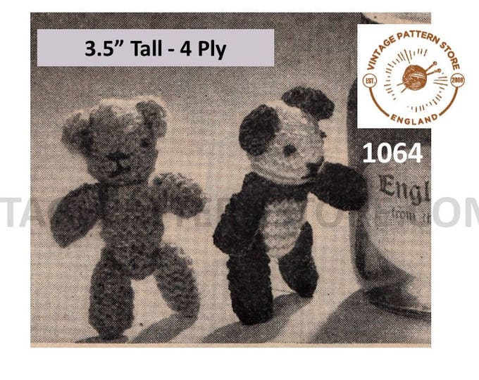 "50s Vintage easy to knit 4 ply small toy panda and tiny teddy bear pdf knitting pattern 3.5"" High Instant PDF download 1064"