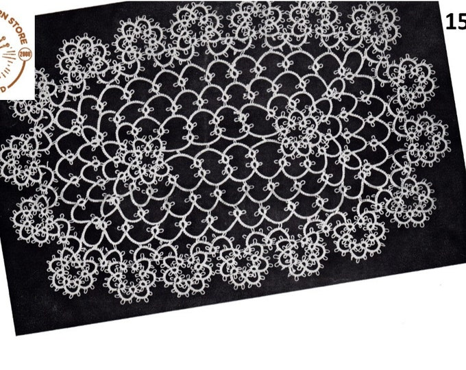 """40s Vintage tatted lace oval doily doilies pdf tatting pattern 7.5"""" by 11"""" Instant PDF download 1543"""