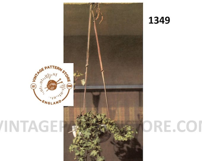 70s vintage beginners easy to make shoe string leather plant hanger pdf leather work pattern PDF download 1349