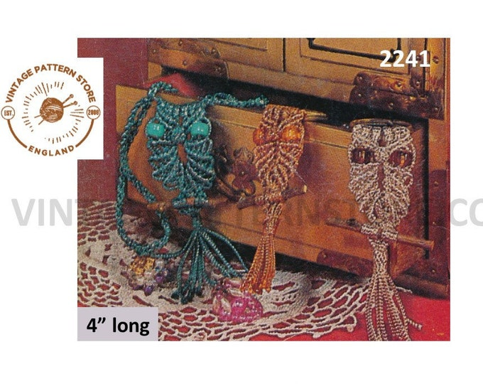 70s vintage easy to make macrame jewellery owl necklace and key ring pdf macrame pattern Instant PDF Download 2241