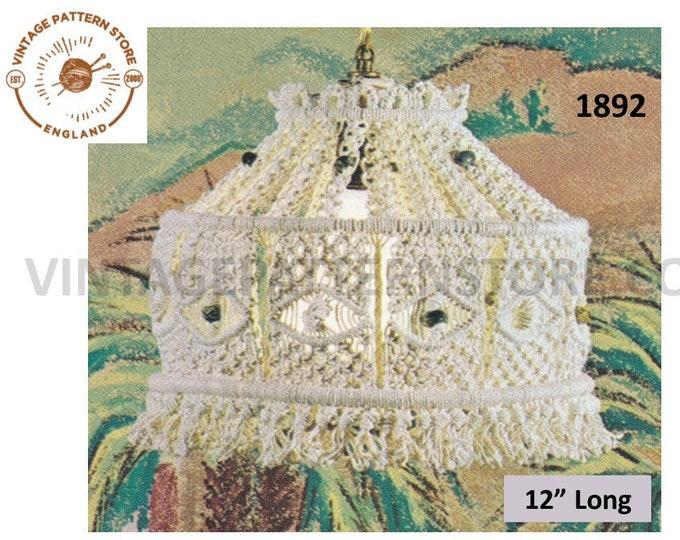 "70s vintage easy to make macrame light shade pdf macrame pattern, 70s retro macrame lighting light fitting pattern 12"" Long Download 1892"