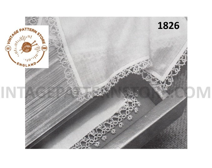 60s vintage tatted lace handkerchief edging pdf tatting pattern 2 designs as shown Instant PDF download 1826