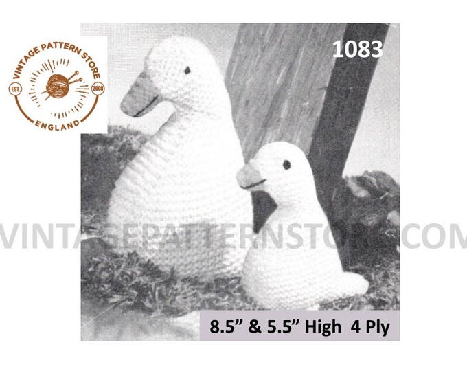 50s vintage simple and easy to knit 4 ply cuddly toy duck and baby pdf knitting pattern Instant PDF download 1083