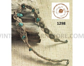 70s vintage boho bohemian macrame choker necklace jewllery jewelry pdf macrame pattern Instant PDF Download 1298