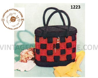 Ladies 1950s, crochet checkerboard hand bag purse - One Size - Vintage PDF Crochet Pattern 1223