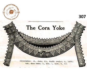 Vintage Victorian lacy camisole yoke edging pdf crochet pattern one size Instant PDF Download 307