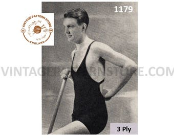 "Mens Mans 20s vintage 3 ply bathing swim swimming suit costume pdf knitting pattern 24"" waist Instant PDF download 1179"