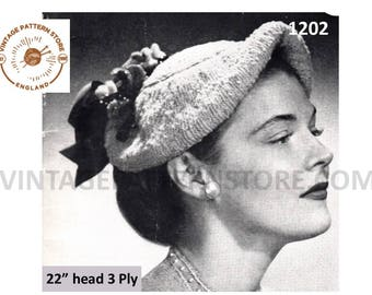 "Ladies 1950s, Up and over tubular brim cap hat with flowering trim - 22"" head Size - Vintage PDF Knitting Pattern 1202"