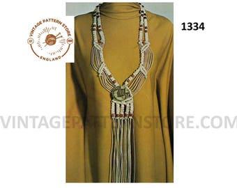 "70s vintage bohemian macrame jewelry jewellery boho necklace pdf macrame pattern 30"" Long Instant PDF Download 1334"