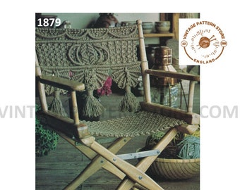 PDF macrame pattern, Macrame directors chair pattern, Easy macrame patterns, 70s macrame garden chair pattern PDF Download Pattern 1879