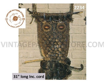 "70s vintage macrame wall hanging owl pdf macrame pattern 31"" long Instant PDF Download 2234"