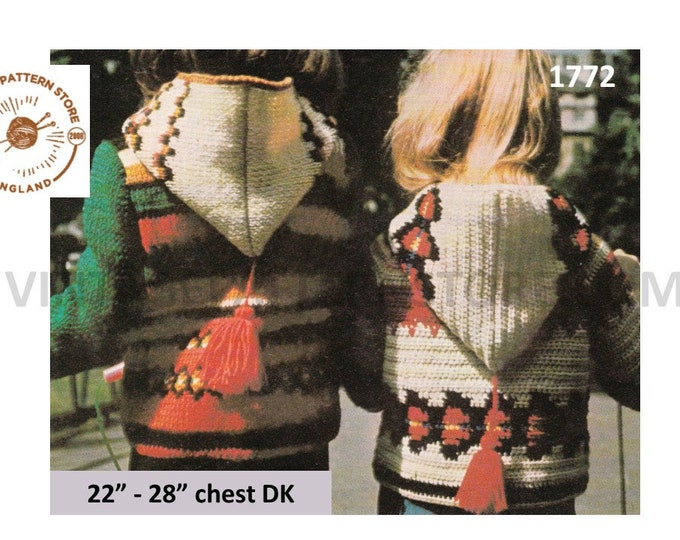 """Childrens Toddlers Boys Girls 70s vintage intarsia coat jacket anorak with hood pdf knitting & crochet pattern 22"""" to 28"""" PDF Download 1772"""