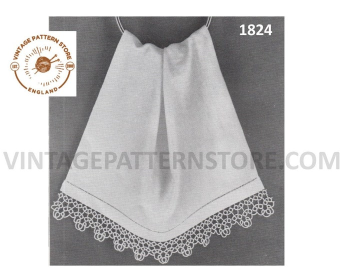 60s vintage tatted lace guest hand towel edging pdf tatting pattern Makes to desired length Instant PDF download 1824