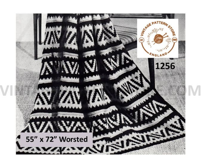 "70s vintage native American Indian design worsted or aran afghan throw pdf knitting pattern 55"" by 72"" Instant PDF download 1256"
