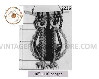 """70s vintage wall hanging macrame owl pdf macrame pattern 16"""" by 10"""" with easy to follow instructions Instant PDF Download 2236"""