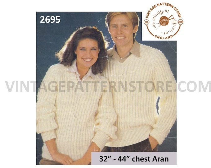 "Womens Mens 80s quick & easy to knit V neck fishermans rib ribbed raglan aran sweater jumper pdf knitting pattern 32"" to 44"" Download 2695"