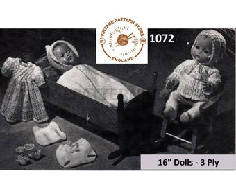 """50s vintage 16"""" 3 ply baby doll clothes pram set layette pdf knitting pattern 8 items to knit Instant PDF download 1072"""