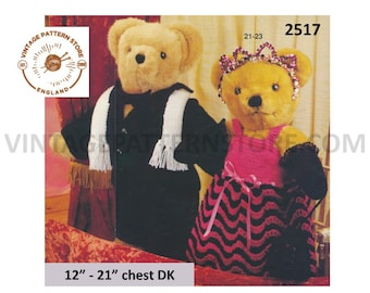 """90s DK teddy bear clothes evening suit & dress pdf knitting pattern 12"""" to 21"""" chest Instant PDF download 2517"""