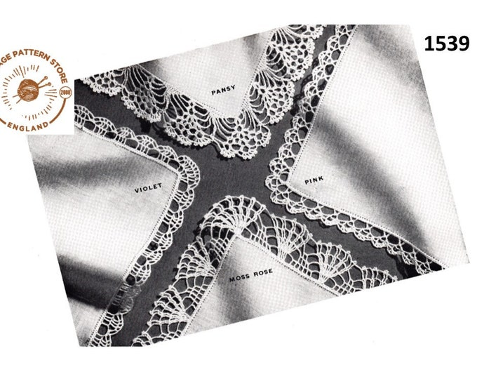 40s vintage crochet lace lacy handkerchief edging pdf crochet pattern 4 designs to make Instant PDF Download 1539