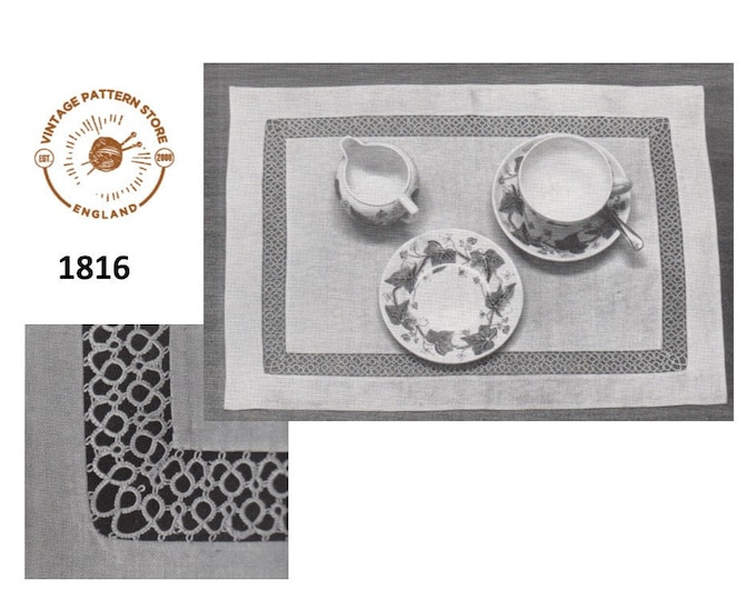 60s vintage rectangular inset tatted lace lacy dining luncheon place mat pdf tatting pattern Instant PDF download 1816