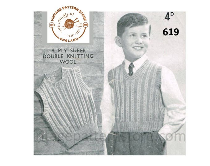 """Boys 40s vintage 4 ply or DK round or V neck cable rib ribbed sleeveless sweater vest tank top pdf knitting pattern 24"""" to 27"""" Download 619"""