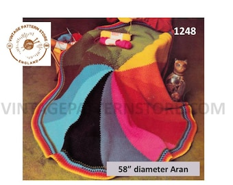 "70s vintage circular round colour wheel aran afghan throw dual use shawl wrap pdf crochet pattern 58"" diameter Instant PDF download 1248"