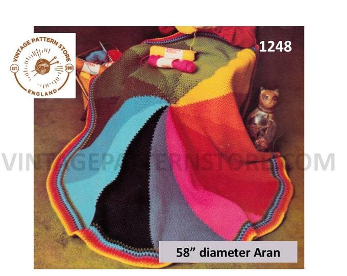 "70s vintage circular round colour wheel aran afghan throw dual use shawl wrap pdf crochet pattern 58"" diameter Instant PDF download 1248"