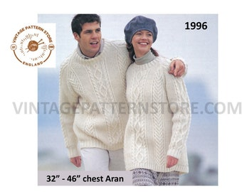 "Mens Ladies Womens 90s round neck cable & texture aran raglan tunic sweater jumper pdf knitting pattern 32"" to 46"" chest PDF download 1996"