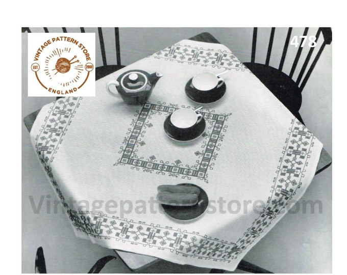 "70s vintage holbien and cross stitch embroidered square table cloth pdf embroidery pattern 39"" by 39"" Instant PDF Download 478"