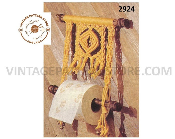 70s vintage macrame washroom bathroom toilet roll paper holder pdf macrame pattern instant PDF Download 2924
