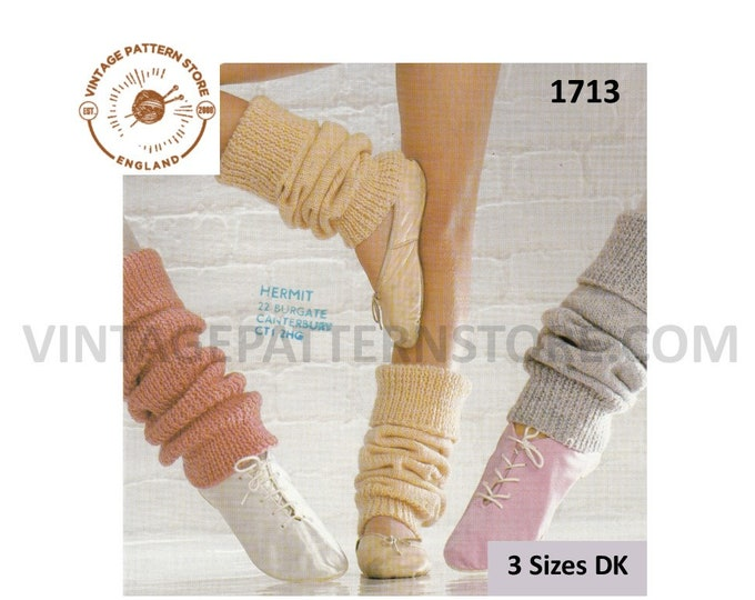 Ladies Womens Girls 80s vintage easy to knit small medium and large DK leg warmers pdf knitting pattern Instant PDF Download 1713