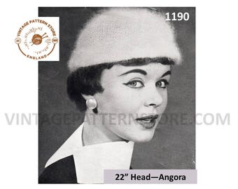 Ladies 1950s, angora cloche hat cap - One Size - Vintage PDF Knitting Pattern 1190