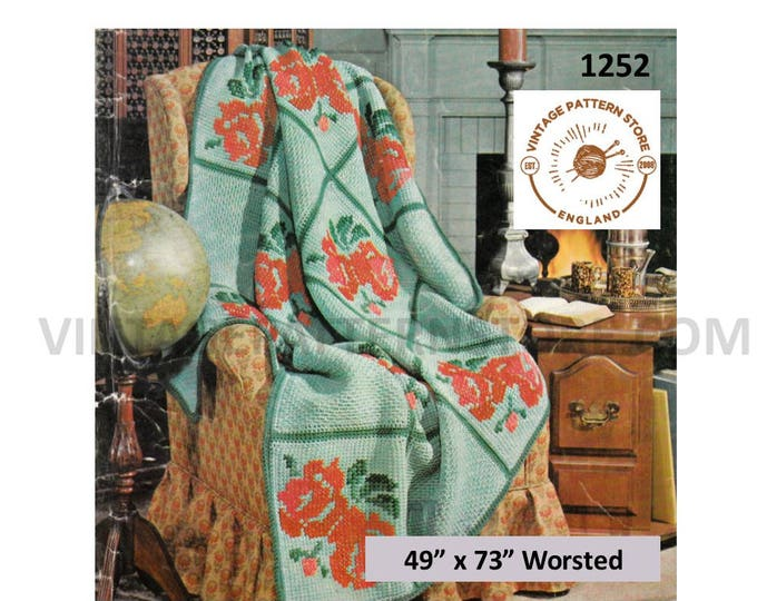 """70s Vintage easy to knit 4 ply floral and check afghan throw pdf knitting pattern 49"""" by 73"""" Instant PDF download 1252"""