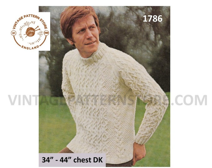 "Mans Mens 80s vintage DK or aran crew neckcable cabled raglan sweater jumper pullover pdf knitting pattern 34"" to 44"" chest Download 1786"