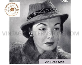 "Ladies 1950s, Fedora Hat - 22"" head Size - Vintage PDF Knitting Pattern 1206"