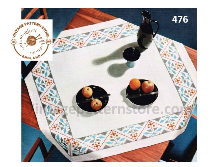 "70s vintage South American Aztec embroidered square table cloth pdf embroidery pattern 39"" by 39"" Instant PDF Download 476"