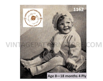 Babies 1930s breechette trouser set, coat, beret, trousers - 8 - 18 months - Vintage PDF Knitting Pattern 1162