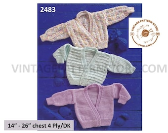 """Premature Preemie Baby Babies DK or 4 ply V neck lacy plain and cable crossover cardigan pdf knitting pattern 14"""" to 26"""" PDF download 2483"""