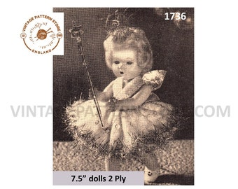 """50s vintage 7"""" 2 ply doll clothes Christmas Fairy Angel pdf knitting pattern Instant PDF download 1736"""