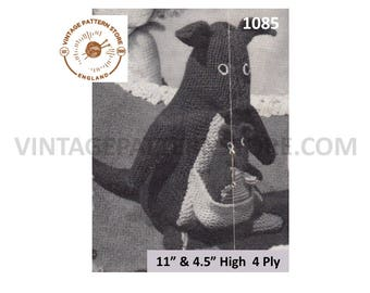 """50s vintage easy to knit DK cuddly toy animal kangaroo and baby joey roo pdf knitting pattern 11"""" and 4.5"""" high Instant PDF Download 1085"""