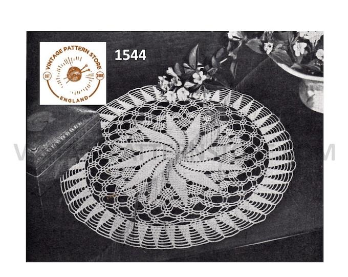 "40s vintage circular round lacy lace pinwheel doily doilies table mat pdf crochet pattern 17"" diameter Instant PDF download 1544"