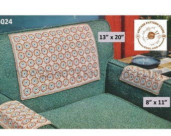 """50s vintage retro settee chair back and arm protector covers pdf crochet pattern 13"""" by 20"""" & 8"""" by 11"""" Instant PDF download 3024"""