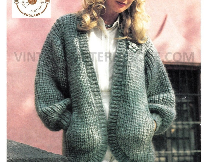 """Ladies Womens 80s vintage V neck drop shoulder chunky knit open front dolman cardigan pdf knitting pattern 33"""" to 38"""" Instant download 808"""