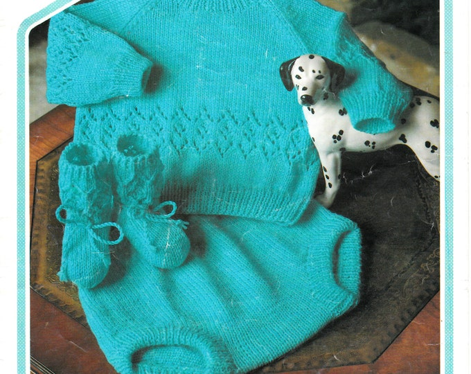 "Original Pattern Peter Pan 439 Baby Babies Toddlers 4 ply eyelet lace lacy raglan sweater pilch & booties knitting pattern 18"" to 22"" chest"